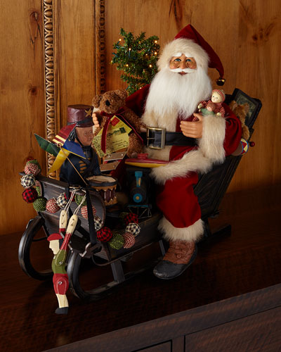 Lighted Vintage Sleigh Santa