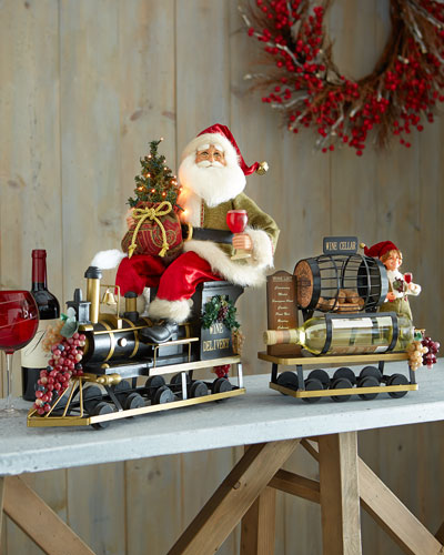 Lighted Wine Delivery Train Santa