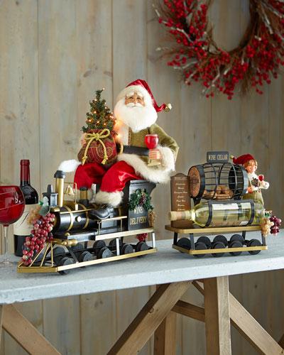 Lighted Wine Delivery Train Santa