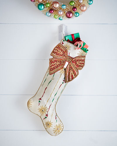 Retro Stripe Christmas Stocking