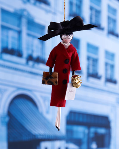 Shopping Lady with Burgundy Coat Christmas Ornament