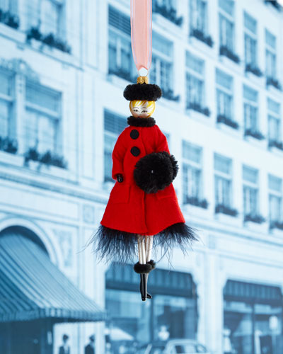 Lady with Red Coat & Black Muff Christmas Ornament