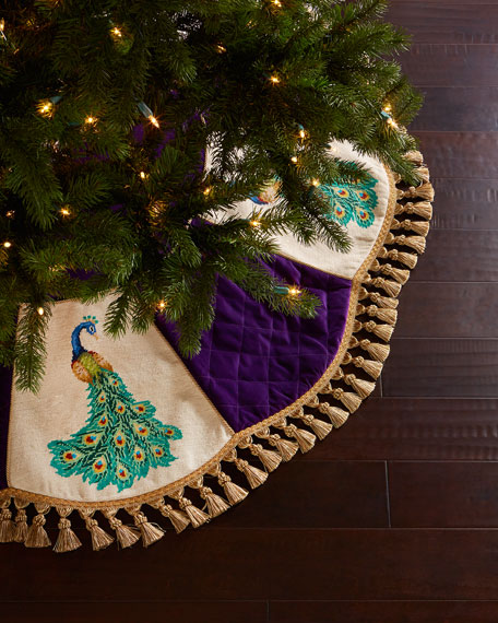 peking handicraft peacock needlepoint christmas tree skirt