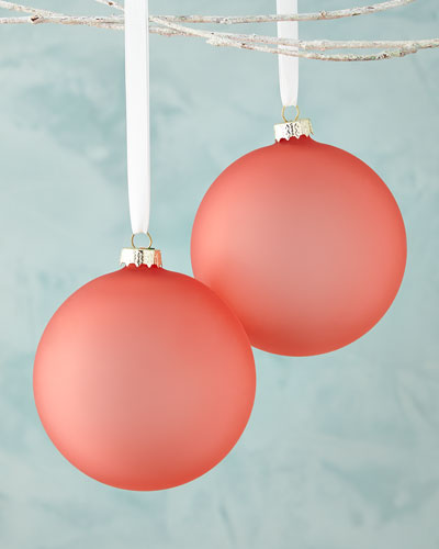 Pink Matte Glass Ball Christmas Ornament, Set of 3