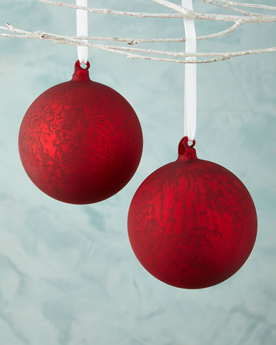 Red Antiqued Mercury Ball Christmas Ornament, Set of 2
