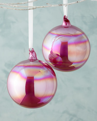 Pearl Glass Ball Christmas Ornament, Set of 2