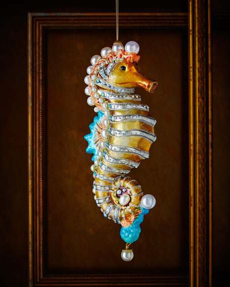 jay strongwater seahorse christmas ornament