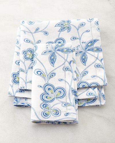 Four Calypso Print Dinner Napkins