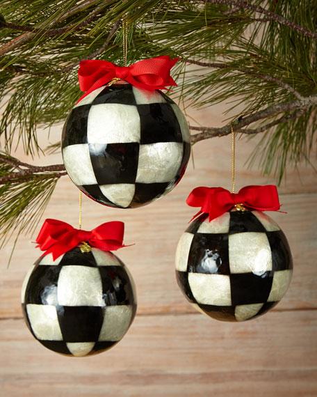 MacKenzie-Childs Three Jester Fancies Large Ball Christmas Ornaments