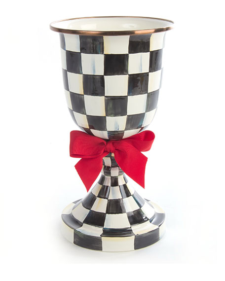 Courtly Check Pedestal Vase with Red Bow