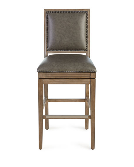 Collin Leather Swivel Barstool