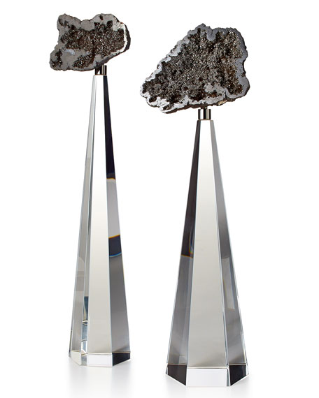 John-Richard Collection Silver Geodes on Crystal, 2-Piece Set