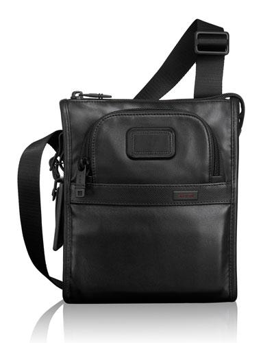 Alpha 2 Black Leather Pocket Bag