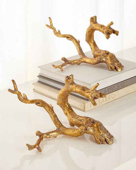 John-Richard Collection Golden Just Twigs Sculpture, Set of