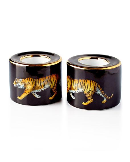 Halcyon Days Tiger Black Tea Light Holders, Set