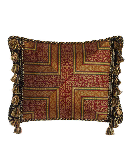 "Exotica Crimson & Gold Pillow with Side Tassels, 15"" x 20"""