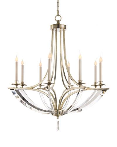 Bent Eight-Light Crystal Chandelier