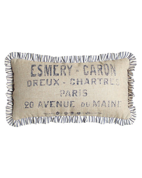 French Laundry Home Oblong Pillow with Ticking-Stripe Ruffle,