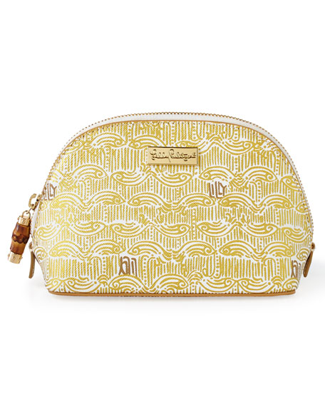 Lilly Pulitzer Gold Metallic Upscale Cosmetic Case