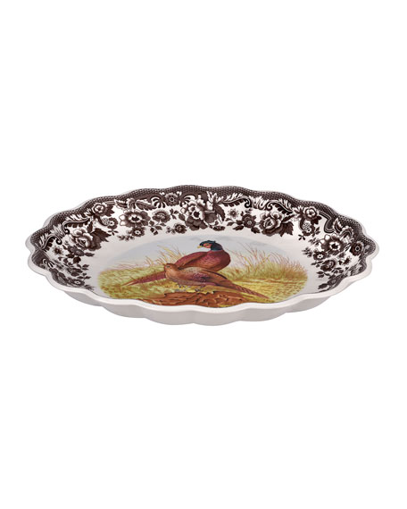 Pheasant Oval Fluted Dish