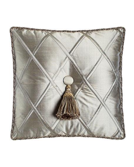"Silk Diamond Pillow with Tassel, 18""Sq."