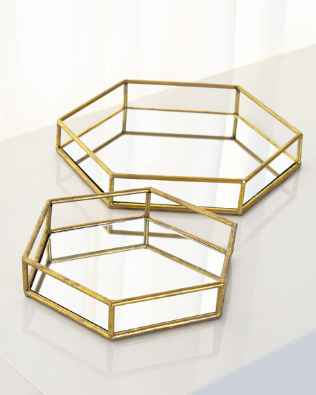 Mirrored Hexagonal Trays, Set of 2