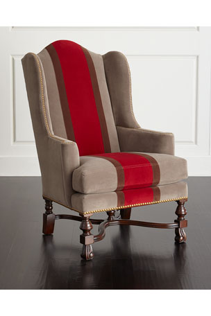 Massoud Red Colorblock Wing Chair