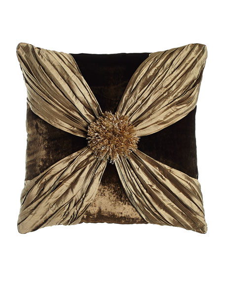 "Gatsby Velvet Pillow with Crushed Silk Wrap, 20""Sq."