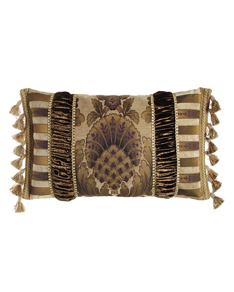 "Pieced Gatsby Pillow with Medallion Center, 15"" x 26"""