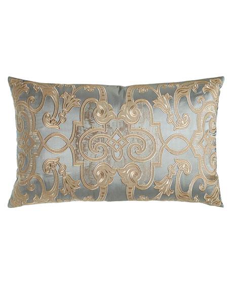 """Mozart Blue Silk Pillow, 18"""" x 30"""""""