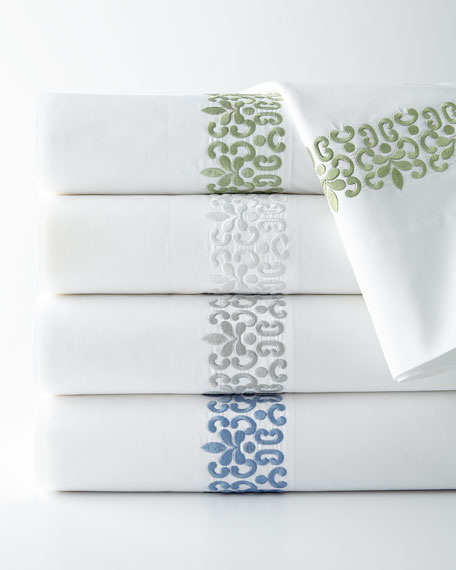 Queen 500TC Embroidered Scroll Flat Sheet
