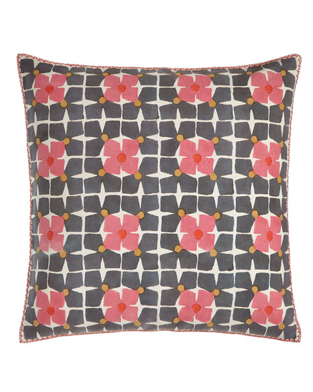 John Robshaw Harbar Floral Grid Block Print Pillow,