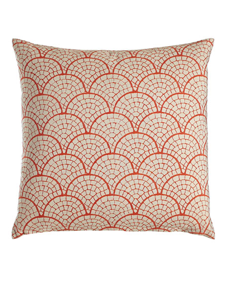 Laal Pillow with Coral Scallop Print, 20