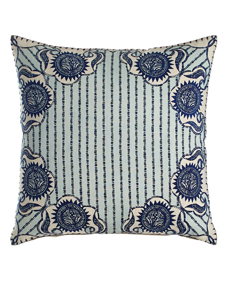 John Robshaw Luha Pillow with Striped Center, 20