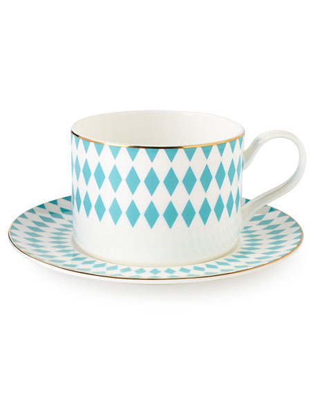 B by Brandie Hutton Teacups & Saucers, Set of 4