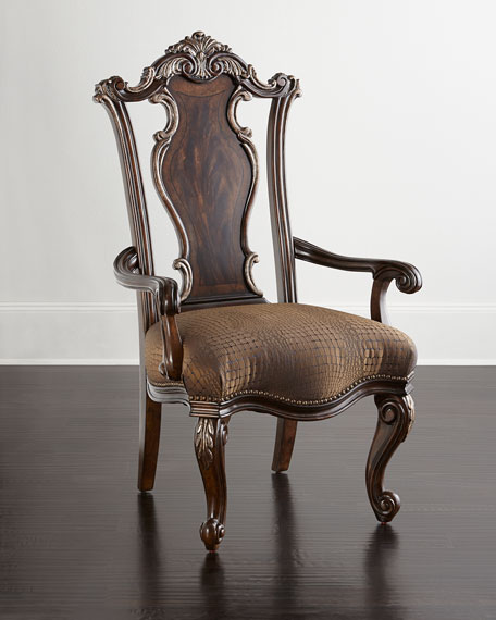 Neimanmarcus Maxwell Wood-Back Armchairs, Pair