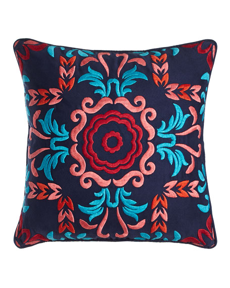"Embroidered Viva Mexico Pillow, 18""Sq."