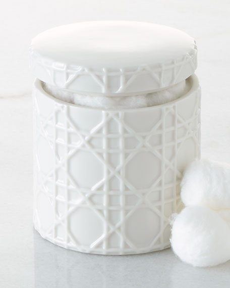 Cane Embossed Porcelain Cotton Jar