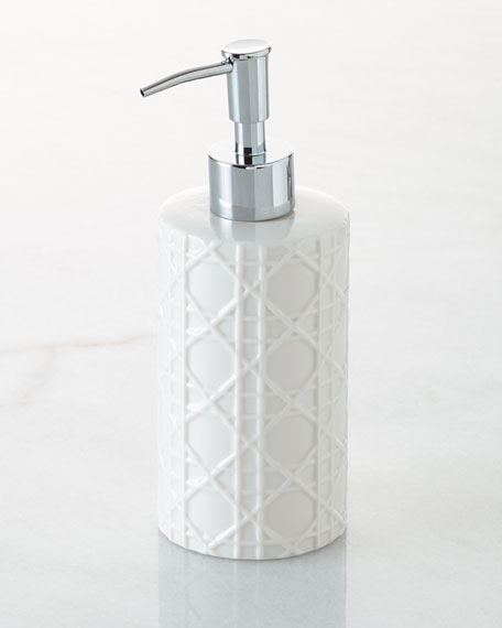 Kassatex Cane Embossed Porcelain Pump Dispenser Neiman
