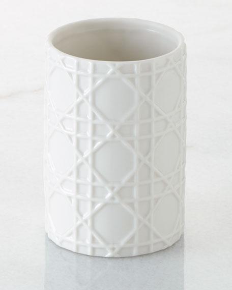 Kassatex Cane Embossed Porcelain Tumbler