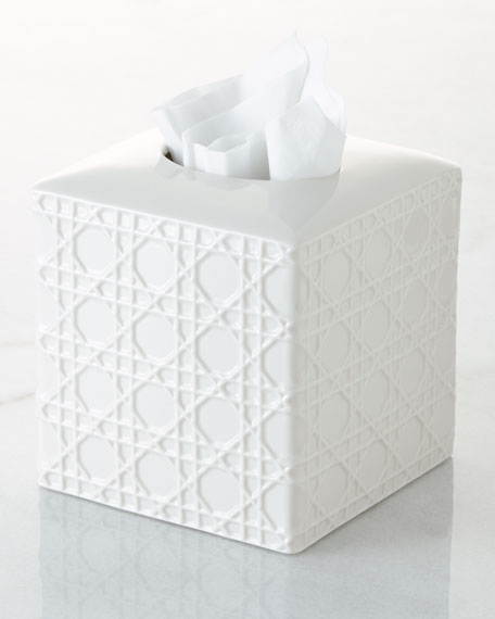 Cane Embossed Porcelain Tissue Box Cover