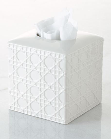 Cane Embossed Porcelain Tissue Box Cover