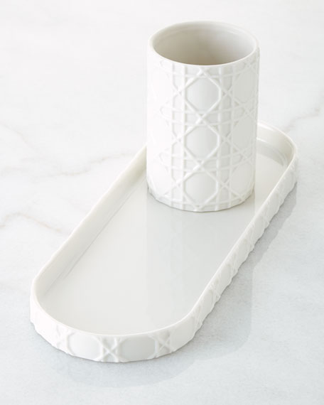 Cane Embossed Porcelain Vanity Tray