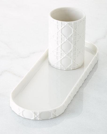 Kassatex cane embossed porcelain vanity tray neiman marcus for White ceramic bathroom tray