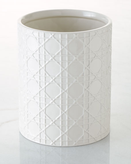 Cane Embossed Porcelain Wastebasket