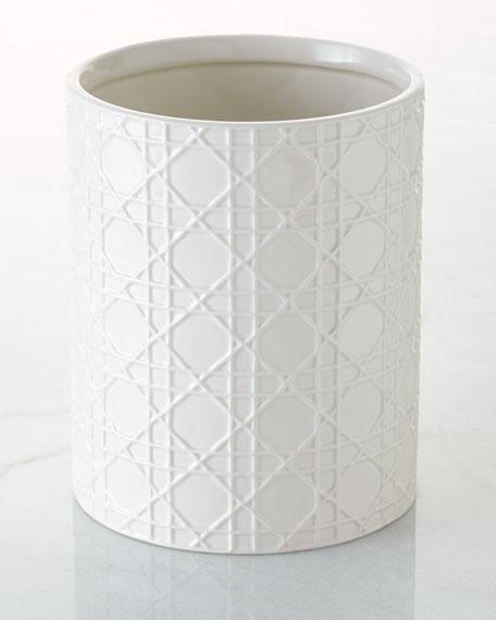 Cane Embossed Porcelain Wastebasket