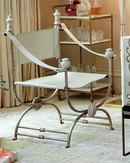 Martina Ivory Leather Chair