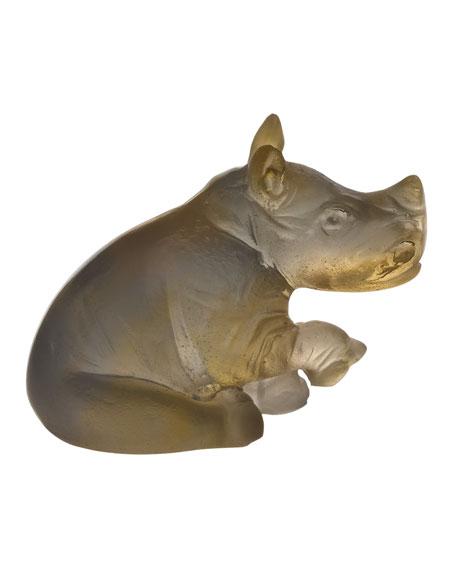 Mini Amber/Gray Rhino Sculpture