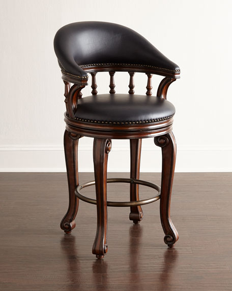 Alexander Swivel Leather Counter Stool