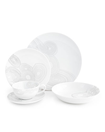 5-Piece Grey Malachite Dinnerware Place Setting